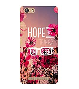 Takkloo Hope in the things unseen ( Pink flower, Pink Background, lovely quote) Printed Designer Back Case Cover for Gionee Marathon M5 lite