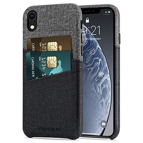 Foto TENDLIN Cover iPhone XR Custodia Portafoglio in Pelle Sintetica con 2 Slot per Titolare della Carta Compatibile con iPhone XR (Nero)