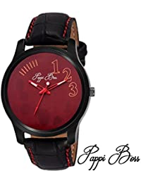 Pappi Boss Simple Classic Red Dial &Threaded Leather Strap Analog Casual Watch For Men, Boys