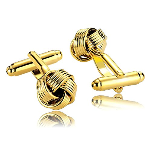Epinki Herren Manschettenknöpfe, Edelstahl Klassiker Hemd Manschetten Knöpfe Love Knot Tuxedo Gold für Hochzeit & Geschäft -