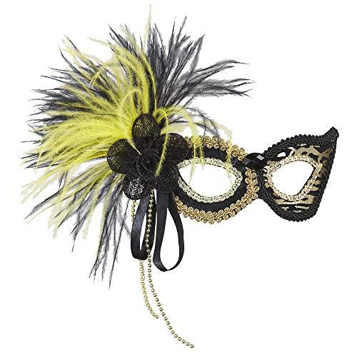nomaske mit Federn, schwarz / gelb ()