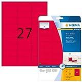 HERMA 5045 Farbige Etiketten DIN A4 (63,5 x 29,6 mm, 20 Blatt, Papier, matt) selbstklebend, bedruckbar, permanent haftende Farbetiketten, 540 Klebeetiketten, neon-rot