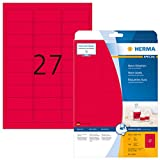 Herma 5045 Neonetiketten signalstark (63,5 x 29,6 mm auf DIN 4 Papier matt) 540 Stück, neon-rot, selbstklebend, PC-bedruckbar