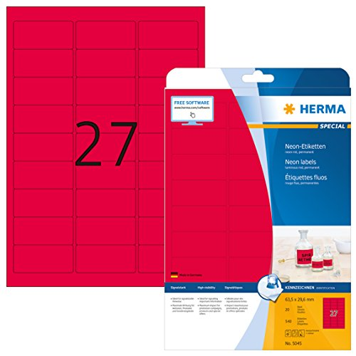 Herma 5045 Neonetiketten neon rot (63,5 x 29,6 mm) 540 Farbetiketten, 20 Blatt DIN A4 Papier farbig matt, signalstark, bedruckbar, selbstklebend
