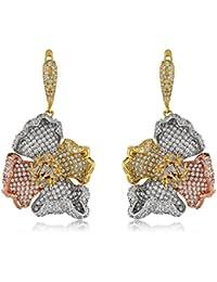 Three Toned Crumbled Flower Earrings| Earrings For Girls | Earrings For Girls Fancy Party Wear | Earrings For...