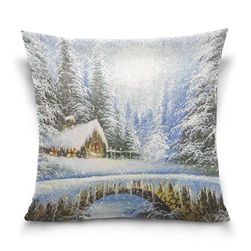 MyDaily Kissenbezug, Winterlandschaft, Weihnachten, quadratisch, Baumwolle/Samt, Samt, Multi, 50,80 cm X 50,80 cm