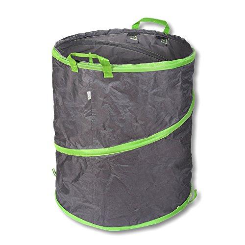 Schramm Pop-up Gartensack 85L Grün/Grau Sehr Stabiles Polyester Oxford Selbst Aufstellend Gartensäcke Pop up Garten Sack Säcke Big Bag