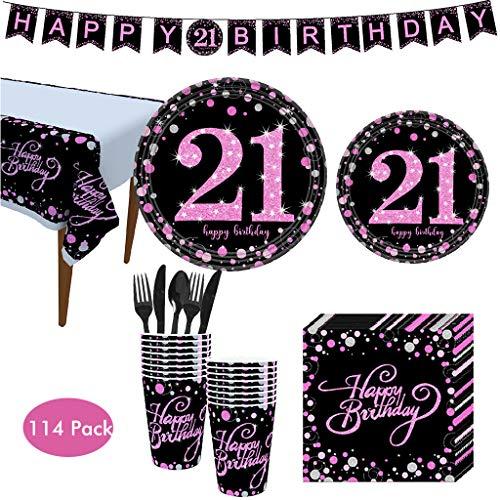 s Geburtstagsdeko 21. Geburtstag,Party Zubehör Set einschließlich Banner, Teller, Becher, Servietten, Tischdecke, Löffel, Gabel und Messer, für 16 Personen. ()