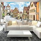 3D Country Style Adesivo murale Strada e case di campagna Foto Wallpaper Biancheria da letto in camera Tv Sfondo Carta da parati personalizzata Murale, 300 × 210Cm