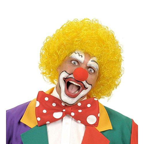 NET TOYS Gelbe Clown Perücke Harlekin Afro Haare gelb Afroperücke Klown Lockenkopf Kindergeburtstag Lockenperücke Schelm Clownperücke Clownsperücke Mottoparty Kostüm Zubehör