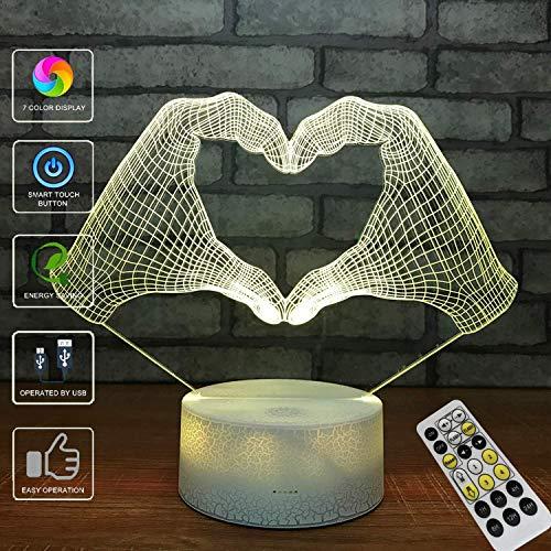 (3D Illusion Lampe, LED Optische Täuschung Multi-Color-Nachtlicht, Fernbedienung USB Lade Kleine Tischlampe,Halloween Weihnachten)
