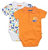 #6: FS Mini Klub Baby Boys' Sleepsuits - Pack of 2 (83135E OR COM3-6M, Orange and White ,3-6 Months)