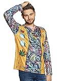 costumebakery - Herren Männer Kostüm photorealistisches 3D Shirt im 70er Jahre Hippie Stil, photorealistic Shirt Peace Style, perfekt für Karneval, Fasching und Fastnacht, M, Gelb