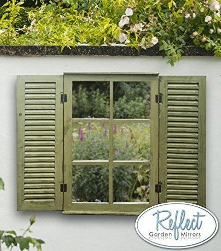 ReflectTM Gartenspiegel Aus Echtglas Mit Fensterläden, 70cm x 45cm