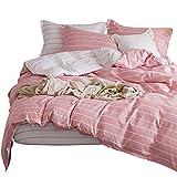 Luofanfei Rosa Bettwäsche King Size 220 x 240 cm Geometrisch Streifen 3 Teilig Bettbezug Gestreift Koralle Weiß Gestreift Microfaser Pastel Design
