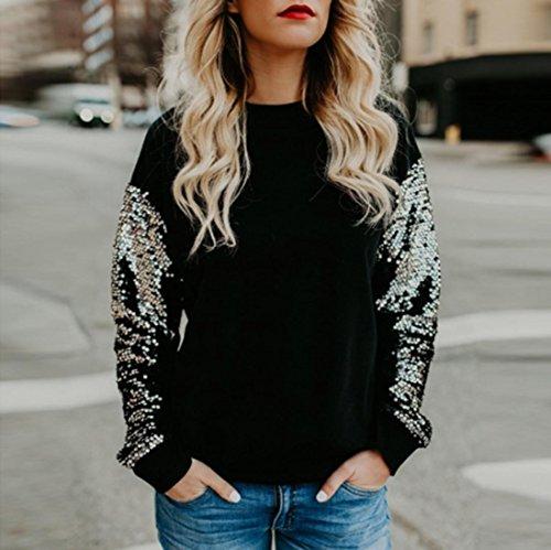 AmazingDays Femme Chemisiers T-Shirts Tops Sweats Blouses Occasionnels O-Neck Paillettes Manches Longues Couture Tops Chemisier Black