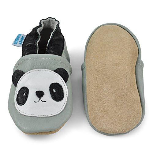 Juicy Bumbles - Weicher Leder Lauflernschuhe Krabbelschuhe Babyhausschuhe mit Wildledersohlen. Junge Mädchen Kleinkind 0-6 Monate 6-12 Monate 12-18 Monate 18-24 Monate Panda