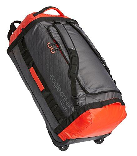 Eagle Creek Cargo Hauler Rolling Duffel ultraleichter Backpacker Reisetasche mit Rucksacktragegurten und Rollen, 82 cm, 120 l, Flame/Asphalt