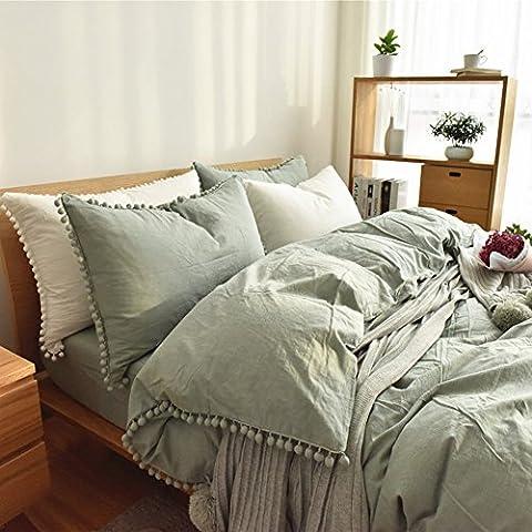 Pompon Betten Sets Weiß–memorecool Haustierhaus 100% Baumwolle Heimtextilien Pure Color Prinzessin Raum Bettbezug und Bettlaken Twin, Green and Fitted, Twin