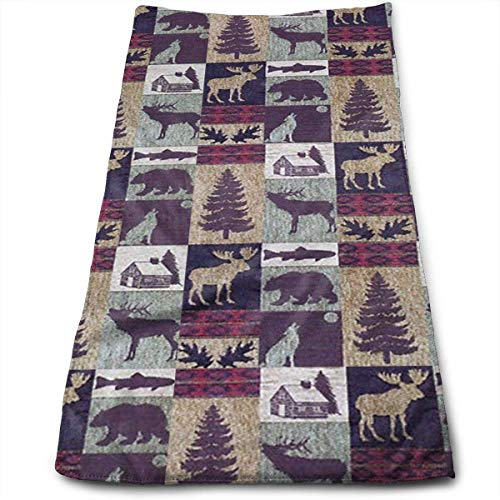 Face Hand Towel Lodge Wolf Deer Bath Towel Multipurpose for Bathroom, Hotel, Gym and Spa -