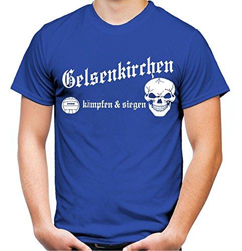 Gelsenkirchen kämpfen & siegen Männer und Herren T-Shirt | Fussball Ultras Geschenk | M1 Blau