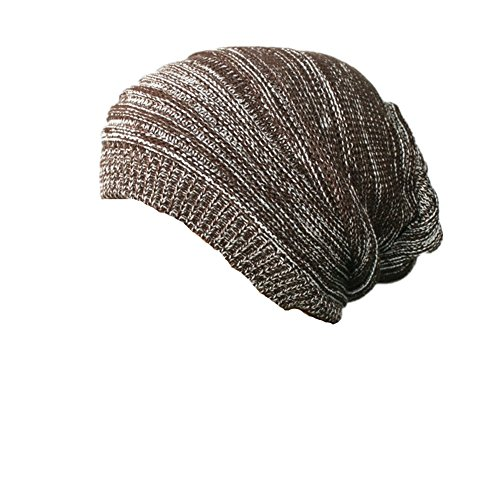 Z-P Unisex Winter Keep Warm Knitted Double Color Stripe Stretchy Hat