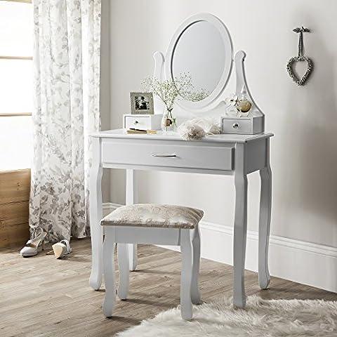 Amalfi AGTC0009 Coiffeuse avec miroir, tabouret Meuble Commode de chambre style Shabby Chic