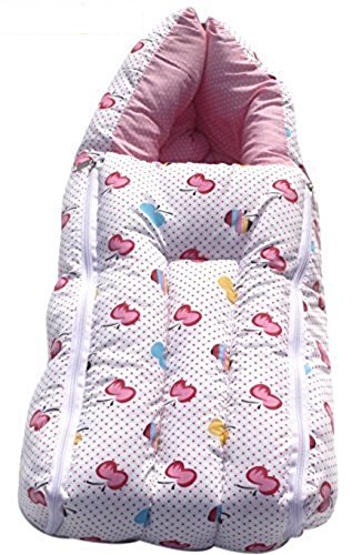 KiddosCare 2 in 1 Baby Bed Cum Bedding Set-Baby Carrier(Pink)Sleeping Bag (0-3 months) Size: 64*41*12 cms (Print n Color May Vary)