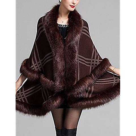 Da Wu Jia Ladies Cappotto donna casual/Daily semplice mantello/Capes,Plaid V collo manica ¾ Autunno / Inverno blu / rosso / bianco / nero / marrone Lana / Medium acrilico , one-size