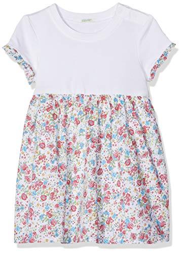 United Colors of Benetton Baby-Mädchen Dress Kleid, Weiß (Bianco/All/Over 86n), One Size (Herstellergröße: 56)
