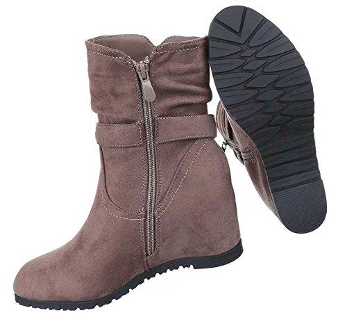 Damen Schuhe Stiefeletten Keil Boots Wedges Braun