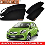 #9: Autofact Magnetic Window Sunshades/Curtains for Honda Brio [Set of 4pc - Front 2pc With Zipper ; Rear 2pc Without Zipper] (Black)