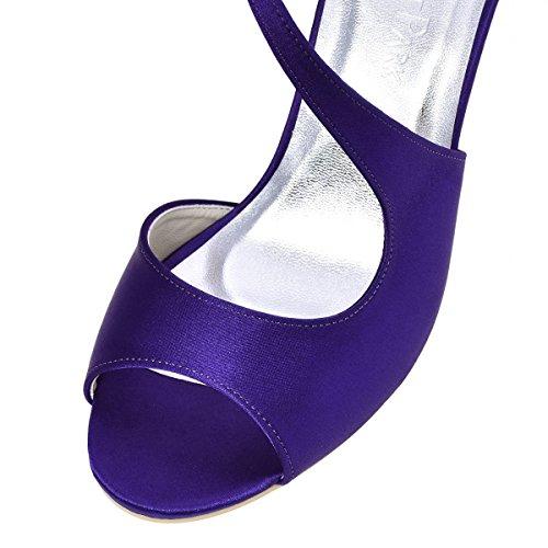 Elegantpark HP1505 Sandale Hoch Absatz Pumps Peep Zehen Rhinestones Satin Damen Brautschuhe Satin Violett