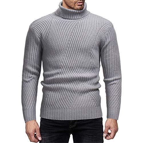Thermal Henley Top (T-Shirt der Langen Hülsen-Männer Herren Strickpullover Pullover Herbst Winter Rollkragen Langarm Strick Sweatshirt Casual Classic Pullover Slim Fit Pullover Tops (Farbe : Hellgrau, Größe : L))