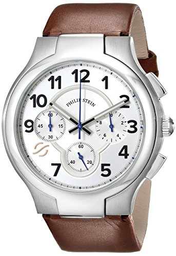 Philip Stein Men's 45-SCRW-CIBR Round Analog Display Japanese Quartz Brown Watch