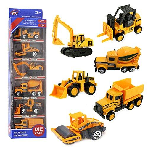 Camiones de Construcción Car Model,Vehículos de Mini Coches Juguetes Set para Niños 3 4 5 Años (6 Pedazos)