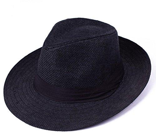 Été La Mode Le Chapeau De Jazz Hommes Chapeau Chapeau Chapeau De Plage Cap Tourisme De Plein Air Black1