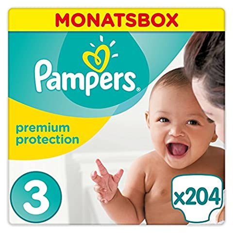 Pampers Premium Protection Windeln, Gr. 3 Midi (5-9 kg), Monatsbox, 1er Pack (1 x 204 Stück) - baby Care