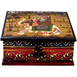 SAARTHI Dry Fruit Box | Serving Tray | Decorative Platter | Beautiful Snack Box | Mouth Freshner Box | Gift Box With Lid | Exclusive Gift Item - Wooden Rajasthani Meenakari Box - 5x5 Inches