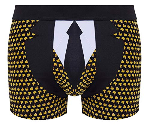 MyMustHave Lustige Herren Boxershort Dandy Duck Unterhose Motiv im Barkeeper Look aus zartem Mikrofaser und hohem Geschenkidee zu Weihnachten oder Geburtstag (XL)