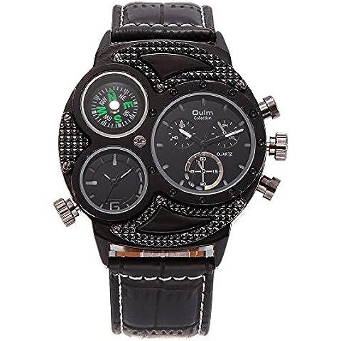 Sheli Hombres de gran tamaño único todos los Negro al aire libre viaje multifuncional Causal cuarzo reloj de pulsera con brújula,