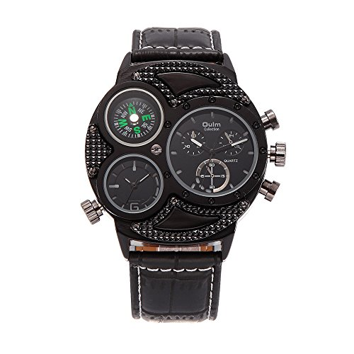 Sheli Herren Übergröße Einzigartig Alle Balck Draussen Ausflug Kausal Multi-Funktions Chronograph Quarz Sportuhren Armbanduhr mit Kompass, 53mm