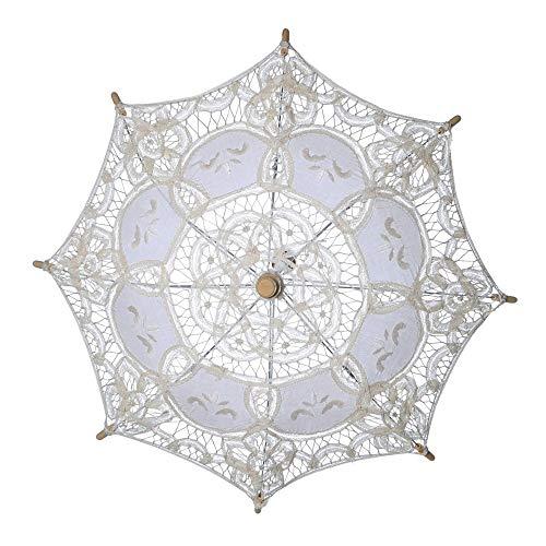 Wascoo Regenschirm Regenschirm Hochzeit Spitze Regenschirm Braut Regenschirme Hochzeit Bestickter Regenschirm Cordon Holzgriff Regenschirm Hochzeit Dekoration Requisiten