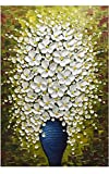 Asdam Art- (100% hecho a mano en 3D) Flor blanca en jarrón azul Arte moderno Pinturas al óleo abstractas sobre lienzo Arte de pared vertical para la sala de estar del dormitorio(24x36inch)
