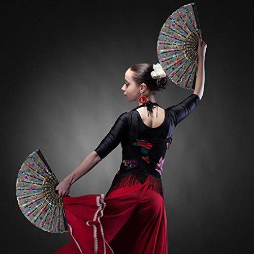 SStaste 2Spanisch Zusammenklappbar Hand Fans Farbigen Pfau Pailletten Muster für Flamenco Dance Hochzeit Gäste Geschenk Kleine Geschenke, Fairy Kleid Kostüm