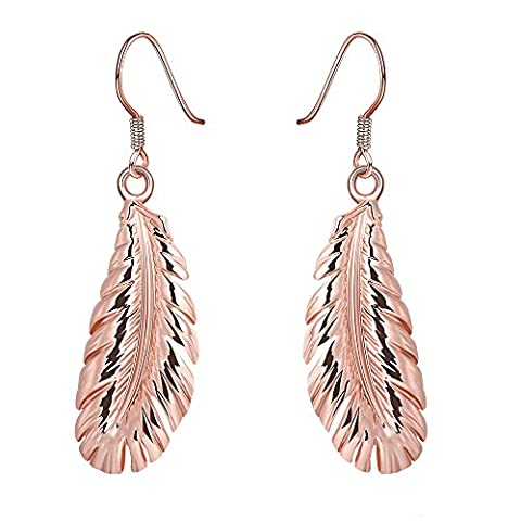 Style Shoes Women's Angel Wing Feather Drop Earring Rose Gold