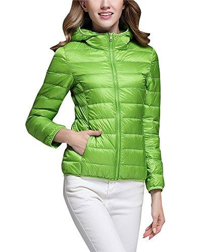 ZhuiKun Daunenmantel Damen Daunenjacke Steppjacke Übergangsjacke Leicht Winter Jacke mit Kapuze Grün 2XL