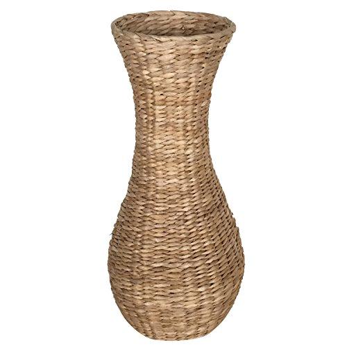 Eshow Rattan Blumentopf Pflanztopf Vase Bodenvase Blumenschmuck Home Decor rund mit Einsatz ca. 30L (Beige 01)