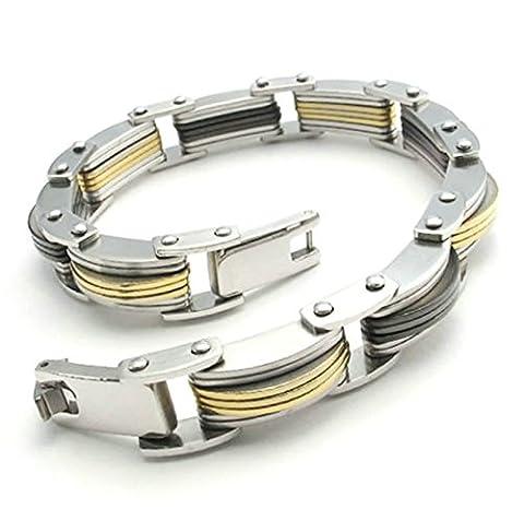 Adisaer Womens Mens Stainless Steel Bracelets Arch Silver Gold Link Bracelets Length 11MM Bangle Bracelet