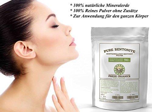 PURE BENTONIT 500g | 100% natürliche Naturkosmetik für den ganzen Körper | Premium Qualität 94% Montmorillonit | Extra Feine Tonerde